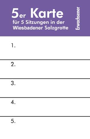 Wiesbadener Salzgrotte eine 5er Eintrittskarte für Erwachsene